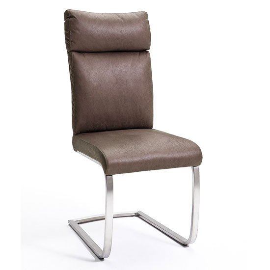 Rabea Fabric Dining Chair In Brown