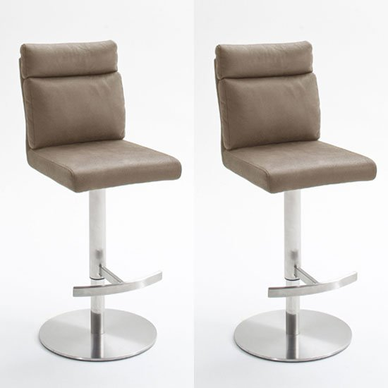 Rabea Sand Fabric Bar Stool In Pair With Stainless Steel Base
