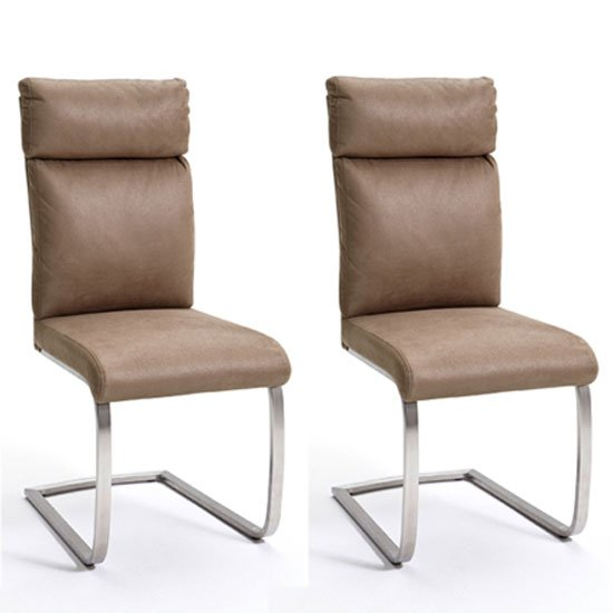 Rabea Sand Fabric Dining Chair In A Pair