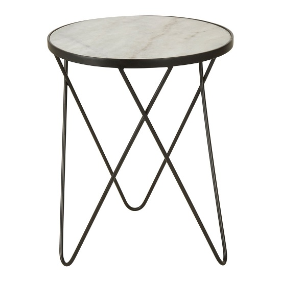 Rabia Round Iron Legs Side Table With White Marble Top
