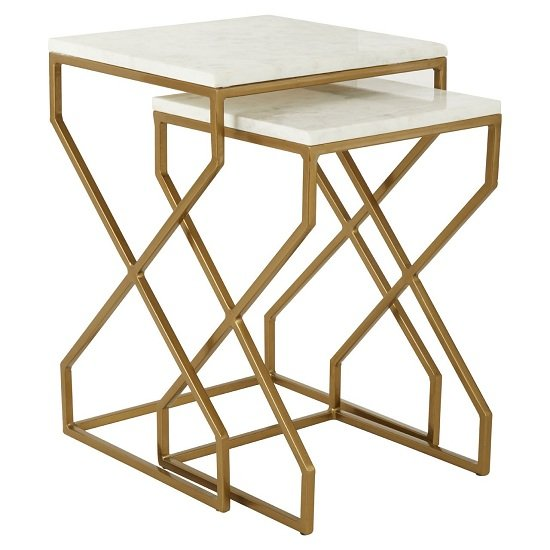 Rabia Set Of 2 Nesting Side Tables With White Marble Top_1
