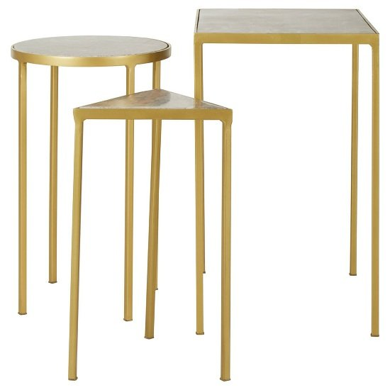 Rabia Set Of 3 Nesting Side Tables With Brass Finish Base