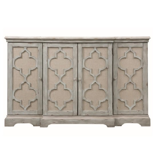 Rabien Storage Cabinet In Weathered Sea Grey With Ivory Accents