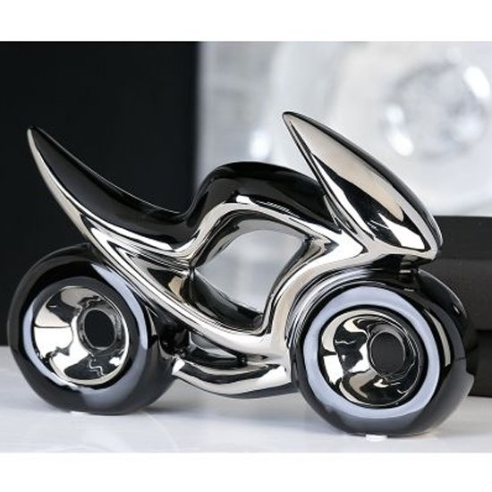 Race Ceramic Motorcycle Sculpture In Black And Silver