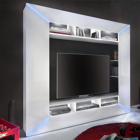 Oliver Entertainment Unit In White Gloss Fronts And LED Lighting