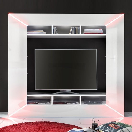 Oliver Entertainment Unit In White Gloss Fronts And LED Lighting_8