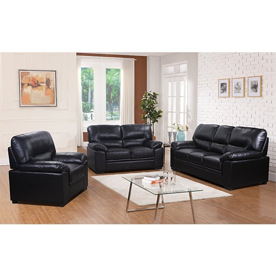 Rachel LeatherGel And PU Sofa Suite In Black