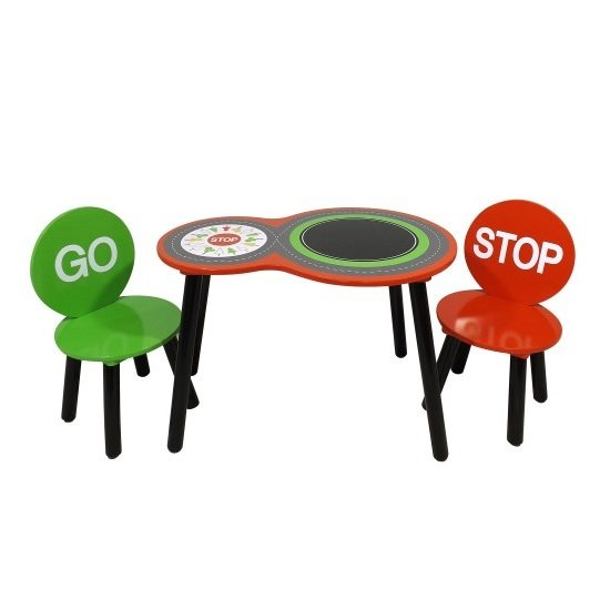 Racing Car Table And 2 Chairs In Red And Green