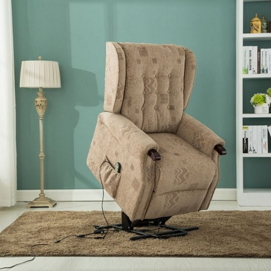 Raddison Modern Rise And Recliner Chair In Wheat Fabric