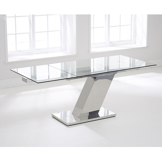 Radford Extendable Glass Dining Table With Stainless Steel Base