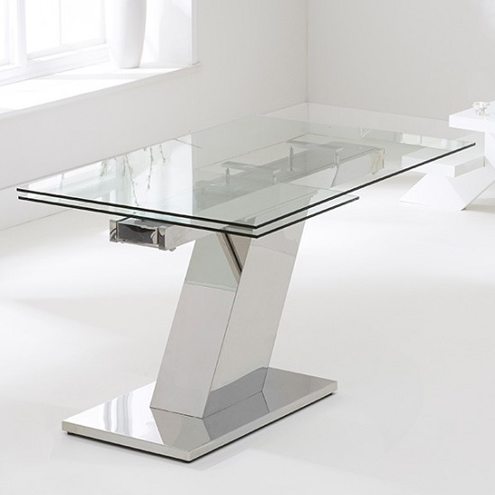 Radford Extendable Glass Dining Table With Stainless Steel