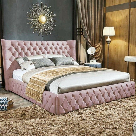 Radium Plush Velvet Upholstered Single Bed In Pink