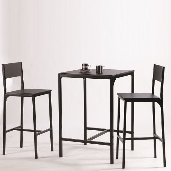 Exceptionnel Radius Modern Bistro Table Set In Black With 2 Chairs