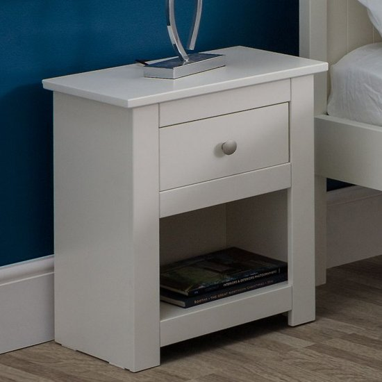 Radley Wooden Bedside Cabinet In Surf White With 1 Drawer