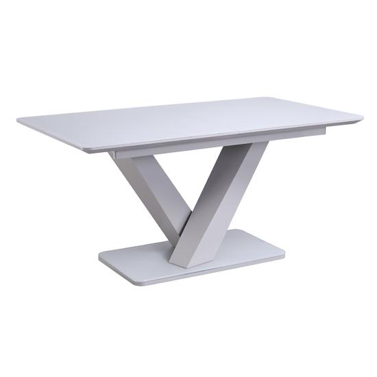 View Rafael extending large wooden dining table in matt light grey