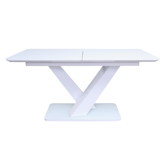 View Rafael extending large high gloss dining table in white
