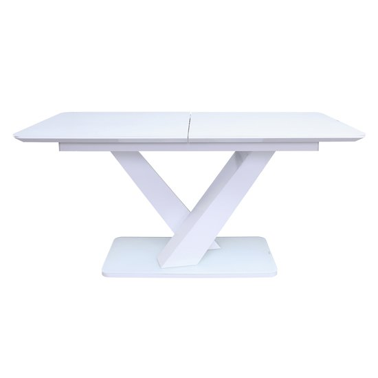 View Rafael extending high gloss dining table in white