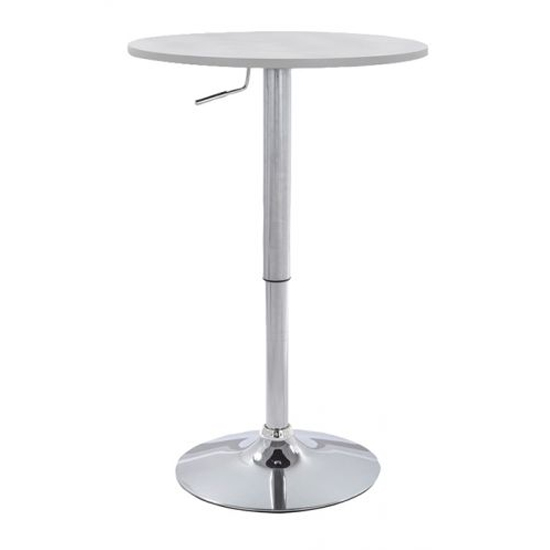 Raga Wooden Top Bar Table In White With Chrome Base