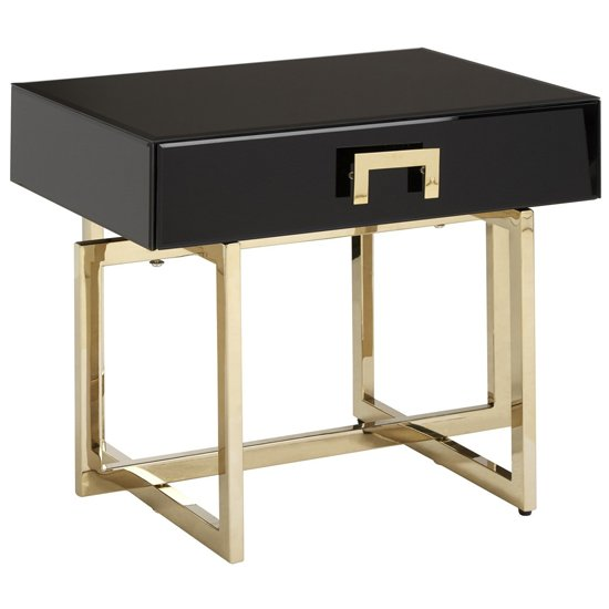 Meleph Wooden Side Table In High Gloss Black And Gold