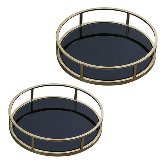 Rail Black Glass Set Of 2 Decorative Plate With Gold Frame