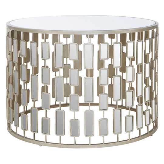 Raina Large Metal Round Table In Silver With Glass Top