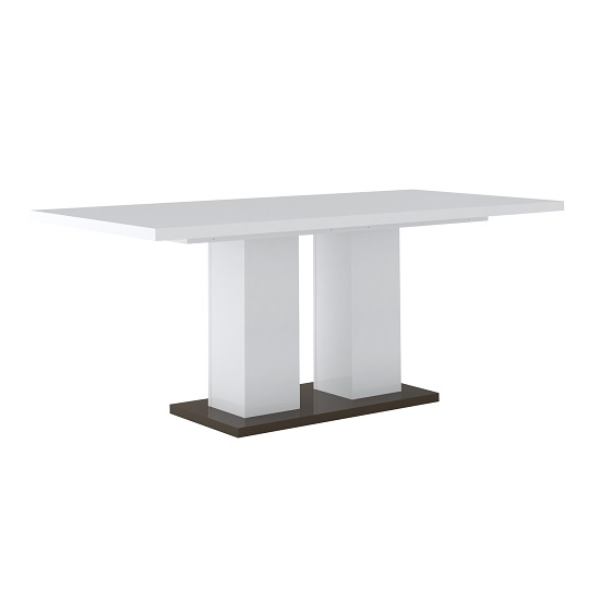 Ramet Wooden Dining Table In White Gloss And Grey Lacquered_4