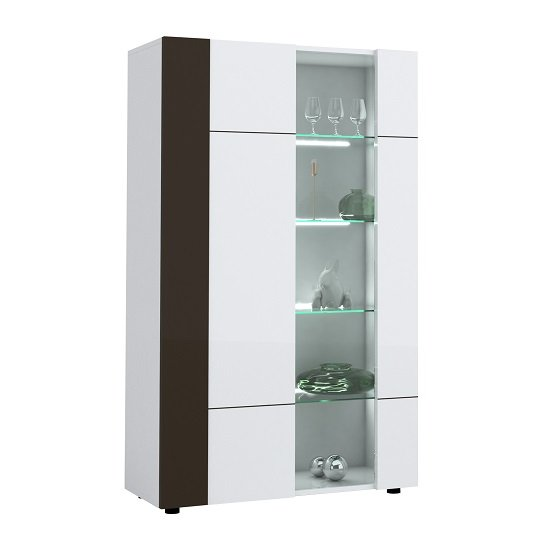 Ramet Display Cabinet In White Gloss And Grey Lacquered