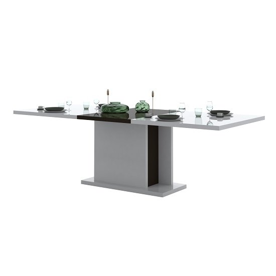 Ramet Extending Dining Table In White Gloss And Grey Lacquered