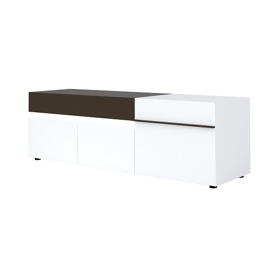 Ramet Large TV Stand In White Gloss And Grey Lacquered