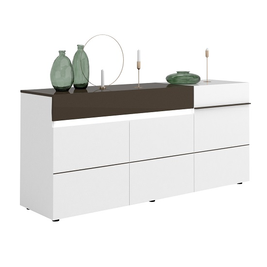 Ramet Medium Sideboard In White Gloss And Grey Lacquered