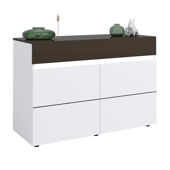 Ramet Small Sideboard In White Gloss And Grey Lacquered