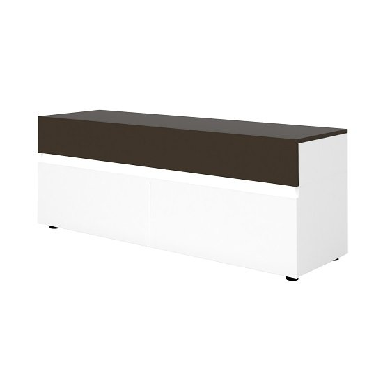 Ramet Small TV Stand In White Gloss And Grey Lacquered