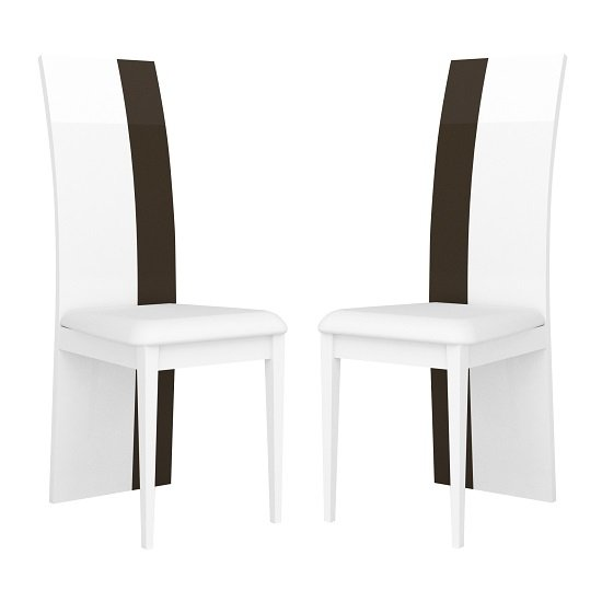 Ramet Dining Chairs In White And Grey Lacquered In A Pair