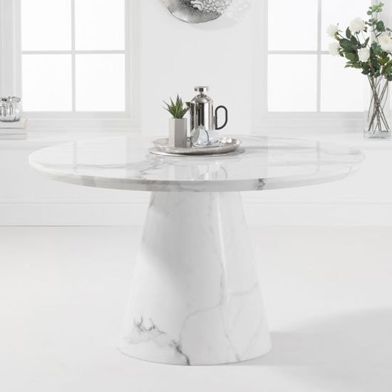 Ramiro Round Marble Dining Table In White