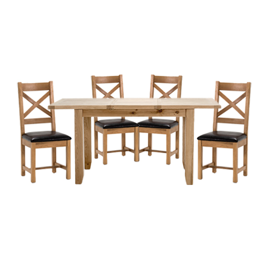 Ramore Extending Dining Set In Natural With 4 Cross Back Chairs