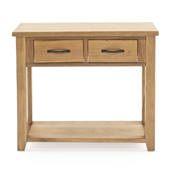 Ramore Wooden Console Table In Natural With 2 Drawers