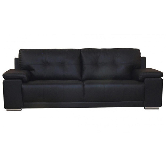Ranee Bonded Leather And PU 3 Seater Sofa In Black