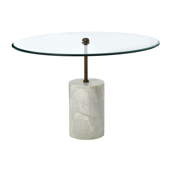 View Menkent large marble top side table with white metal base