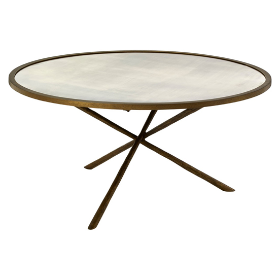 View Menkent round glass coffee table in brass