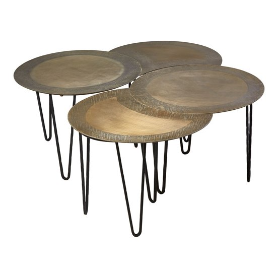 Menkent Set Of 4 Coffee Tables In Brass
