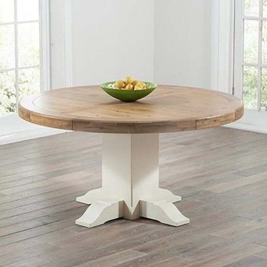 Rapeto Round Wooden Dining Table In Oak And Cream
