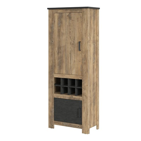 Rapilla 2 Doors Display Cabinet In Chestnut And Matera Grey
