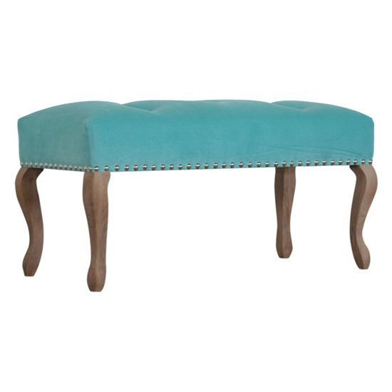 Rarer Velvet French Style Hallway Bench In Turquoise And Sunbleach