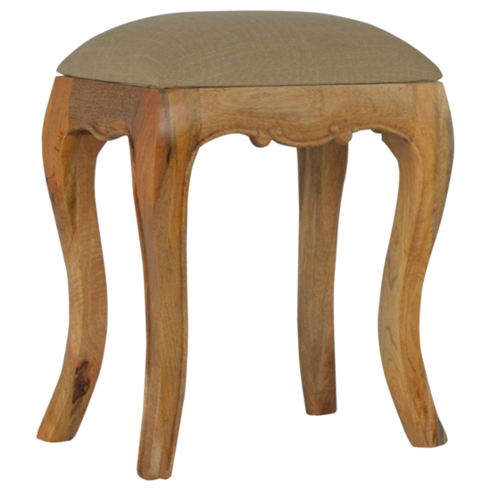 View Rarer wooden french style stool in oak ish with mud linen seat