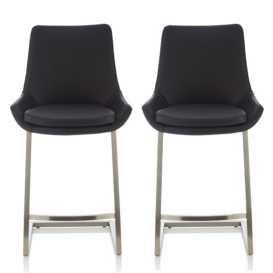 Rasmus Bar Stool In Black Faux Leather In A Pair