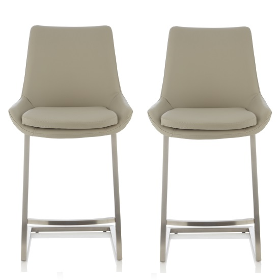 Rasmus Bar Stool In Grey Faux Leather In A Pair