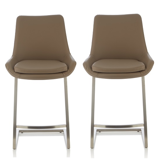 Rasmus Bar Stool In Taupe Faux Leather In A Pair