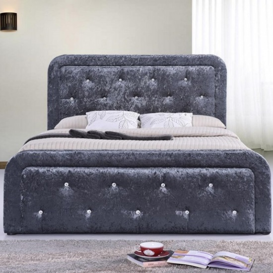 Product photograph showing Ravello Fabric Storage Double Bed In Dark Grey Crushed Velvet