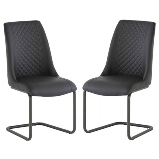 Ravello Grey Faux Leather Dining Chair In A Pair