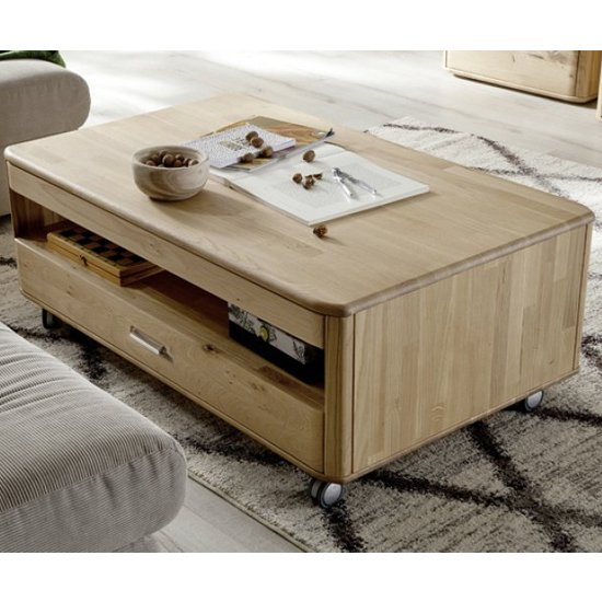 Ravello Wooden Rolling Coffee Table In Oak With 1 Drawer_1